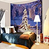 Bewave Christmas Decorations Wall Hanging, 3D Xmas Printed Polyester Fabric Holiday Wall Tapestry Art Valentine's Day for Living Room, Home, Bedroom Mural (80x60Inches, Snow and Ice)