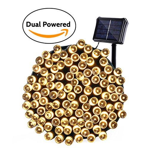 Qedertek Solar Lichterkette Weihnachten, Doppelstromversorgung, Solar oder Batterie betrieben, 22m, 200er LED,8 Modi, Wasserdicht mit Lichtsensor, Deko für Party, Haus, Hochzeit, Feier (Warmweiβ)