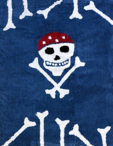 Aratextil Pirata Alfombra Infantil, Algodón, Marino, 120x160 cm