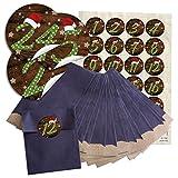 24 blaue Adventskalender Tüten SET (9,5 x 14 cm) und 24 runde Aufkleber 4 cm Zahlen 1-24 grün gepunktet mit roter Mütze zum Befüllen