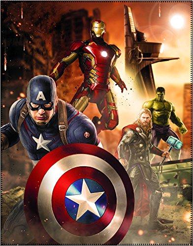 Marvel Kuscheldecke Avengers 110 x 140 cm - Neu & Ovp - Decke - Fleecedecke - Schmusedecke - Autokuscheldecke - Tagesdecke - Captain America - Iron Man - Thor - (Hüte America Captain)