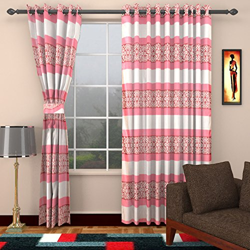 Ajay Furnishings 3 Piece Polyester Stripe Window Curtain - 5 ft, Pink