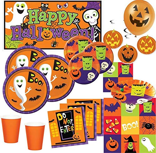 Kids Party World XXL 70 Teile Halloween Deko Set Frankensteins Freunde Geister 8-16 Personen
