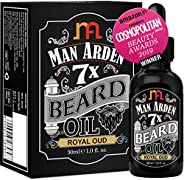 Man Arden 7X Beard Oil (Royal Oud), 7 Premium Oils For Beard Growth & Nourishment -