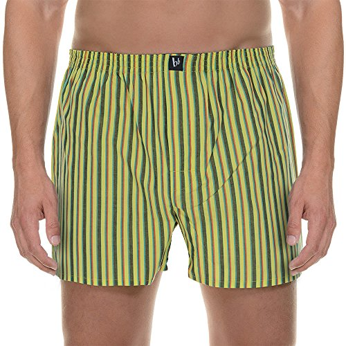Bruno Banani Boxershort Good Deed, Boxer Uomo, Grün (Lime/Anthrazit/Rot Stripes 2035), Large