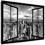 Julia-Art Leinwandbilder Skyline - New York Bilder - XXL Wandbild mit Keilrahmen - 120 mal 80 cm - Querformat 1 teilig - Schwarz Weiß Kunstdrucke Stadt NY City Statue, Brücke Fensterblick N-c-100-a-6