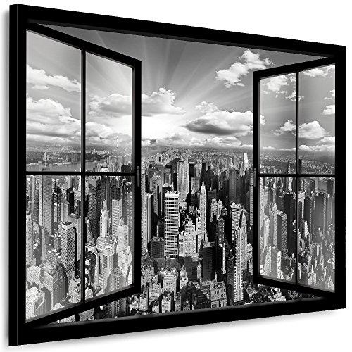 Julia-Art Leinwandbilder Skyline - New York Bilder - XXL Wandbild mit Keilrahmen - 100 mal 70 cm - Querformat 1 teilig - Schwarz Weiß Kunstdrucke Stadt NY City Statue, Brücke Fensterblick N-c-100-a-5