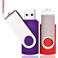 Lot de 2 Clé USB 32 Go USB 2.0 Mémoire Flash Drive Clef USB Pivotantes avec Cordes Bon Cadeau pour Enfant Parents et Amis (32G, Rouge/Violet)