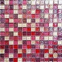 10 cm x 10 cm modelo. Vidrio mosaico de azulejos modelo que figura en dulces colores con eslabón giratorio Glass óptica (MT0027 modelo)