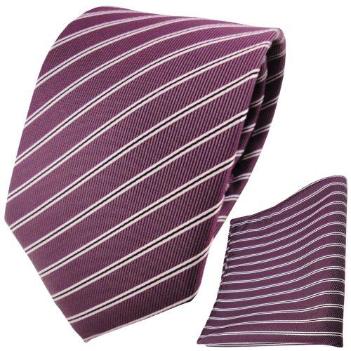 TigerTie schöne Designer Krawatte + Einstecktuch pflaume violett silberweiß schwarz gestreift