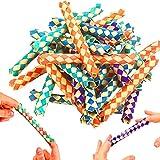 German-Trendseller ® 12 x pièges à doigts chinois┃ en bambous┃mélange de couleurs ┃attrape┃Ne convient pas aux gens avec agoraphobie