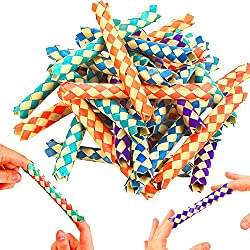German Trendseller® - 12 x Chinesische Finger Fallen aus Bambus ┃ Finger Folter Fallen┃ Achtung!!! Nicht geeignet für Menschen mit Platzangst