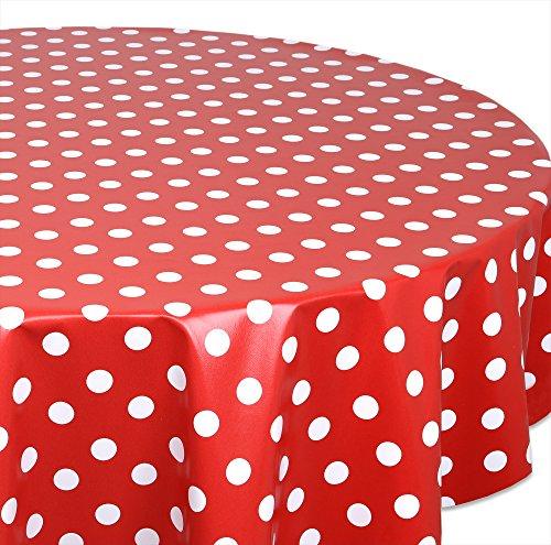 Wachstuchtischdecke OVAL RUND ECKIG Farbe u. Größe wählbar, Tischdecke Wachstuch abwischbar, Punkte (Rot Rund 120 cm)
