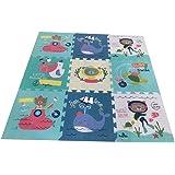 Babify Alfombra Puzzle para bebés Toy Planet - Espesor 2 cm, Antideslizante, Extragrande, Reversible, Impermeable, portátil,