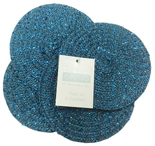 Metallic Teal/Teal Effect Pack Of 4 Round Coasters (4in - 10cm Diameter Approx)