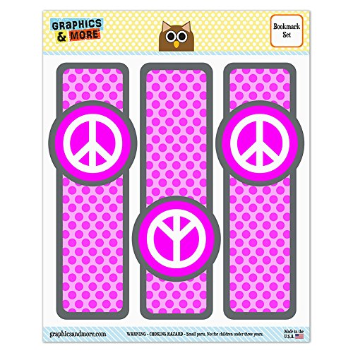 Set von 3glanzfolienkaschiert Lesezeichen–Peace Zeichen Symbol rose (Rosa Symbol Peace Zeichen)