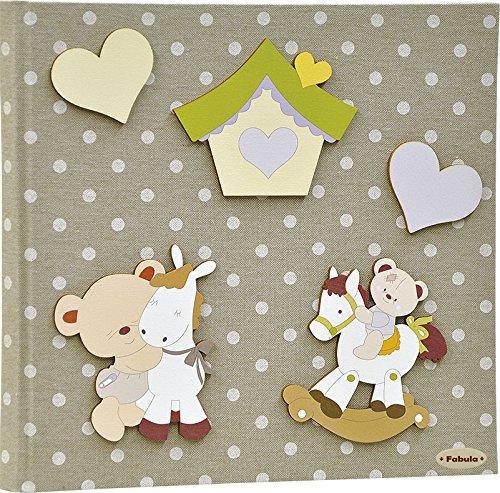 Fabula linea dolce cuore - diario nascita orsetto cavalluccio e dindolo' - formato cm 19x25 con copertina 254 pois bianco e applicazioni in legno - 28 pagine - cod. 162075