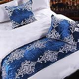 """Yazi Azul Lujo Bufanda de camino de mesa de algodón dormitorio hotel cama decorativa 19x 90"""""""