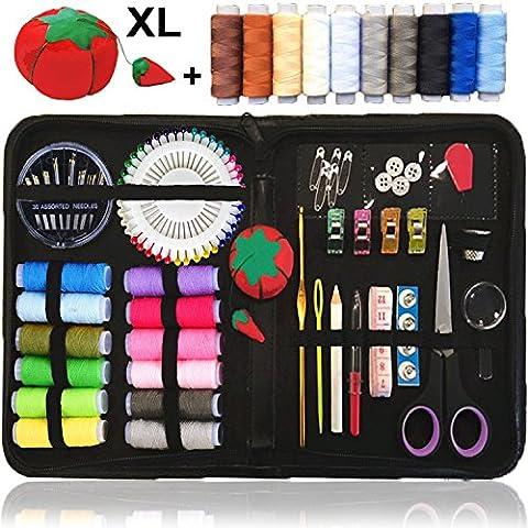 Nähset, über 120 Qualitäts-Nähzubehör, extra 10 nützlichsten Farben der Fäden - Not-Näh-Set, Camper und Home, Deluxe