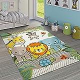 Paco Home Kinderzimmer Teppich Bunt Grün Fröhliche Tiere Zoo Dschungel Muster 3-D Design, Grösse:160x230 cm