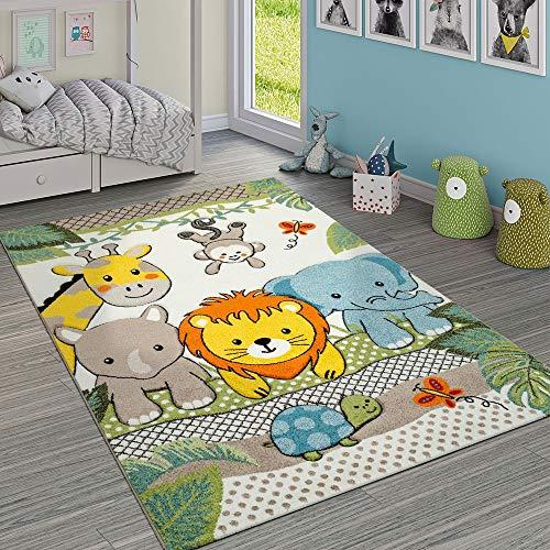 Paco Home Kinderzimmer Teppich Bunt Grün Fröhliche Tiere Zoo Dschungel Muster 3-D Design, Grösse:160x230 cm -