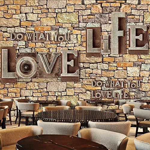 Zhwlb carta da parati pietra retrò alfabeto inglese vintage pittura murale della parete di arte della parete del corridoio del negozio della carta da parati 3d della palestra del m(w)200x(h)150cm