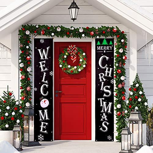 Whaline Christmas Veranda, Schild Welcome and Merry Christmas, hängendes Schild für Zuhause Indoor Outdoor Veranda Wanddekoration schwarz
