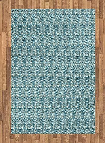 ABAKUHAUS Elfenbein und Blau Teppich, Damast-Blumen, Deko-Teppich Digitaldruck, Färben mit langfristigen Halt, 120 x 180 cm, Benzinblau und Elfenbein - Elfenbein Blumen-bereich Teppich