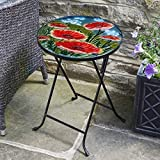 Beautiful & Hand Painted Glass Table By Online Garden Centre **Give Your Garden Or Living Room A New Look**