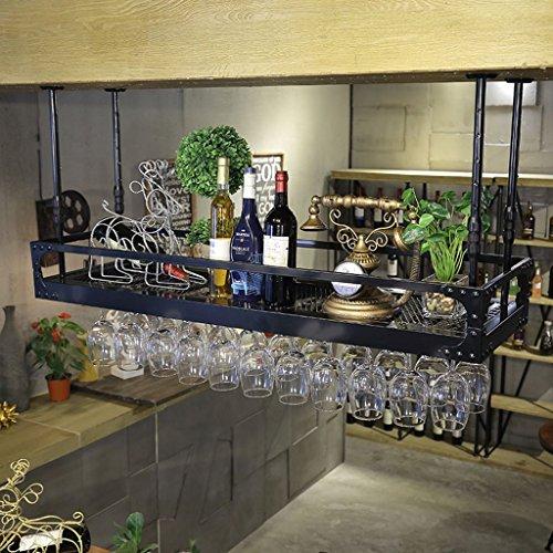 Mensole da parete- calice portabottiglie scaffale da vino scaffale da bar per bar salotto retro espositore da parete a soppalco (colore : black, dimensioni : 60x30cm)
