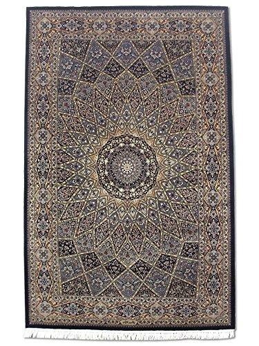 handgeknupfter-gombud-teppich-schwarz-wolle-seide-hohepunkte-139-x-219-cm