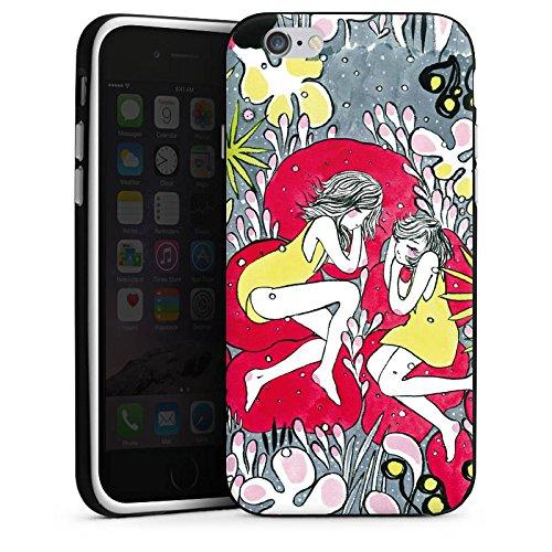 Apple iPhone 6 Housse Étui Silicone Coque Protection Rêveur Fille Femmes Housse en silicone noir / blanc