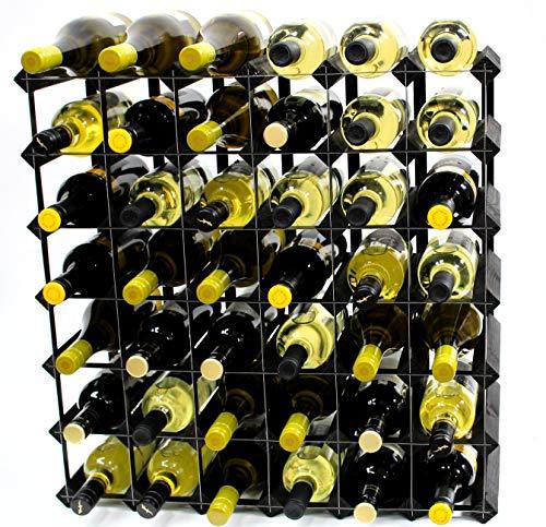 Cranville wine racks Klassische 42Flasche schwarz gebeiztem Holz und schwarzem Metall Weinregal fertig montiert - Modular Wine Rack