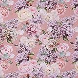 SCHÖNER LEBEN. Dekostoff Baumwollstoff Blumen Rosen Lilien rosa weiß Flieder 1,4m Breite