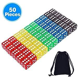 AUSTOR 50 Piezas Dados de 5 Colores Translúcidos (Bolsa Libre) para Juegos de Dados, Tenzi, Farkle, Yahtzee, Bunco o Enseñanza de Matemática
