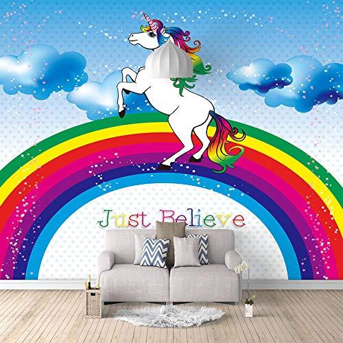 Seide Fototapete Aufkleber Regenbogen Einhorn 3D Wandbild für Schlafzimmer Wohnzimmer Küchen Wandkunst Dekoration Poster 400x280cm -