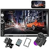 CAMECHO 7 inch Dubbele Din Auto Stereo Audio Bluetooth Mp5-speler USB FM Multimedia Radio+4 LED Mini Backup Camera met Stuurw