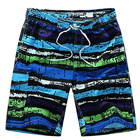 Huntvp Men's Boardshorts Quickly Drying Athletic Swimsuit Swimwear Rainbow Striped Printed Swim Trunk with