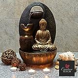 Creative Touch Fountain Edition Goldener Buddha mit 3 Wasserschalen Innenbrunnen/Zimmerbrunnen mit LED Licht | Größe 25 * 25 * 40 cm | 3 Pin UK Stecker Enthalten |