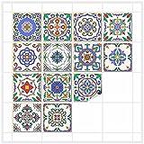 FoLIESEN Fliesenaufkleber für Bad und Küche - 15x15 cm - Patchwork 2 - 16 Fliesensticker für Wandfliesen