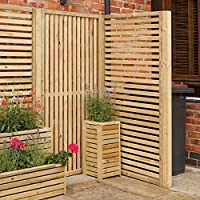 Rowlinson GCHP2 Garden Creations Horizontal Slat Screens (2 Pack), Natural, 90 x 4.5 x 180 cm