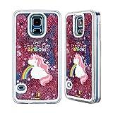 Head Case Designs Einhorn Regenbogenkotze Rosa Handyhülle mit flussigem Glitter für Samsung Galaxy S5 / S5 Neo