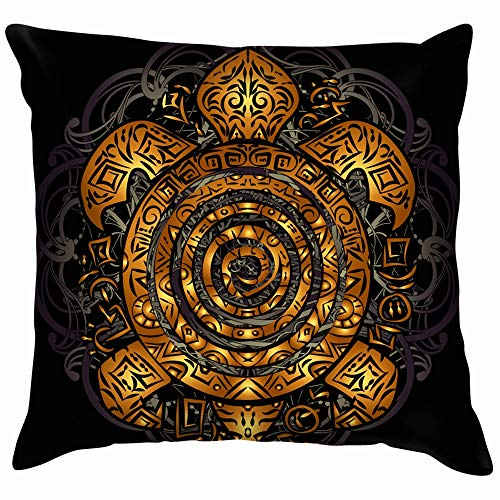 Polynesian Golden Tribal Sea Turtle Tattoo Animals Wildlife Polynesia Pillow Case Throw Pillow Cover Square Cushion Cover 18X18 Inch
