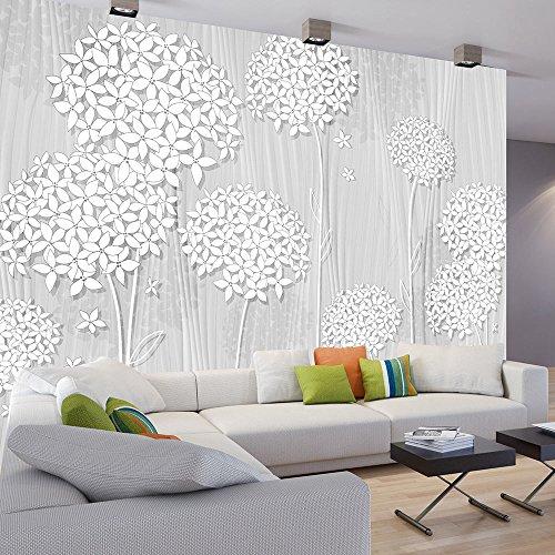 *murando – Fototapete Blumen 350×256 cm – Vlies Tapete – Moderne Wanddeko – Design Tapete – Wandtapete – Wand Dekoration – Blume grau Abstrakt b-C-0008-a-d*