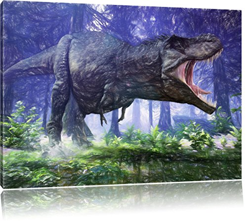 T-Rex Dinosaurier im Wald Kunst Buntstift Effekt, Format: 80x60 auf Leinwand, XXL riesige Bilder...