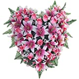 Ligne d co 484905wo w fleurs artificielles fun raires en pot lest coussin - Coeur fleurs artificielles ...