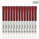 Crestgolf, 13 impugnature in gomma in fibra di carbonio, multi combinazione da Golf Club, antiscivolo, misura standard, red