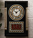 Dhokra and Warli Wooden Wall Clock Red a...