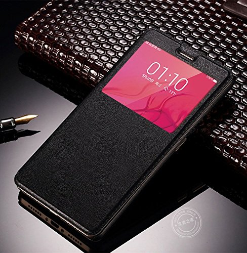 AE (TM) Cover VIVO V3 MAX SVIEW Window Flip Leather Finish Textured Case Cover - BLACK