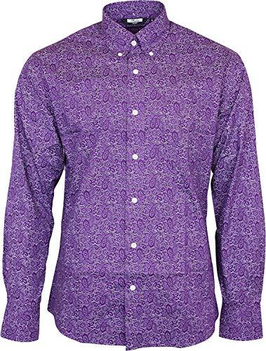 Relco London - Chemise Homme Cachemire Manches Longue Bouton 100% Coton Vintage Rétro Année 60-70